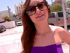 Busty beautiful redhead babe gets inside a van to have the best fuck in her life