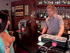 Drunk Nikki shows her tits and fucks with a bartender