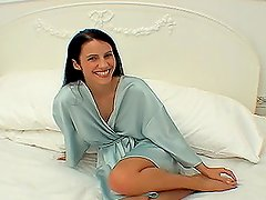 Pretty brunette Katerina pleases her husband with a hot blowjob
