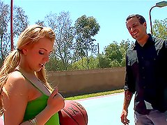 Hot Lexi Belle makes this man sweat and almost loose his breath