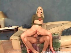 Gorgeous blonde with nice long legs gets her ass impaled