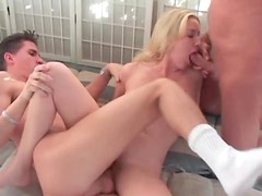Two dick double penetration with tasty babe