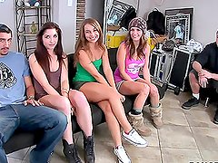Three slutty pro girls are fucking with two guys