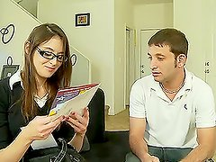 Lewd brunette Anna Malii gets her snatch fingered and fucked