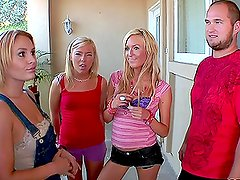 Two guys have some hardcore fun with three horny blondes