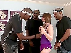Nasty girl Ariel Stonem gets her holes drilled by three black guys