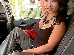 Hot Asian babe blowjobs in the car and gets fucked in the hotel