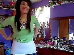 Horny and naughty emo girl tapes herself stripping hot
