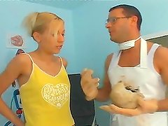 A horny blonde gets astonishingly fondled and fucked by a doctor