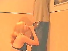 Blonde long-haired babe enjoys doggyfucking in the elevator