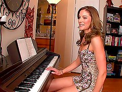 Hot pianist Samantha Ryan rides a big cock and gets cum to her face