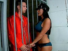 Cute brunette Lisa Anns gets amazingly fucked in a jail