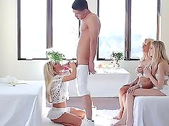 Lucky guy fuck three divine blondes in the bedroom
