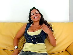 Danni the busty Latina chick gets fucked rough on the sofa