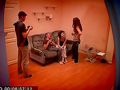 Young threesome make a home made sex tape.