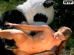 Tied Up Girl Has Sex With Panda Outdoors