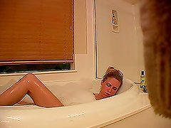 Cute Amanda get caught on hidden camera in bathroom