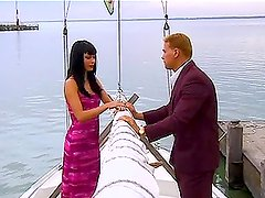 Sexy long-haired brunette Gili Sky gets fucked on a yacht