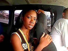 Alize the Black college girl undresses and fucks in a bangbus