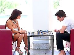 Naughty brunette gets fucked after a chess game