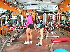 Two beautiful girls have some sexy adventure in the gym