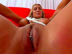Trina Michaels blowjobs, titjobs and rides a cock in cowgirl position