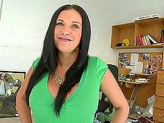 Brunette with Humongous Boobs Gives a Hot Oily Handjob