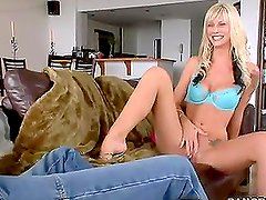 This time old dude got big-breasted blonde slut and she finds him nice