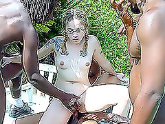 Four big muscled black men rape one white woman outdoors