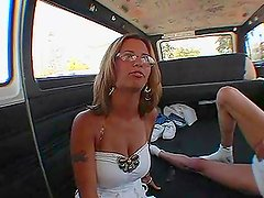 Amanda sucks a big dick in the minivan and rides it wildly