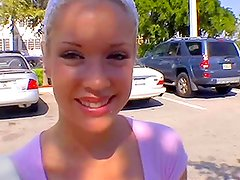 Nice blonde babe meets a guy at the parking and lets him fuck her ass