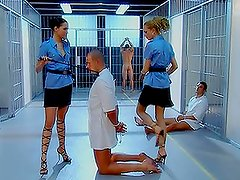 Hot female-guards are choosing men in prison for humiliating sex