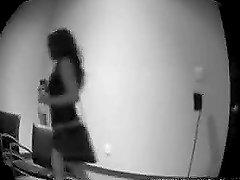 A woman masturbates her pussy in front of the spy cam