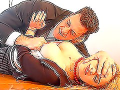 Brutal-like manager rapes his sexy secretary on the table