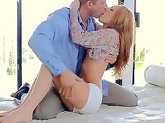 Slim redheaded girl and her boyfriend have a sensual sex early in the morning