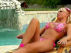 Gorgeous blonde babe double penetrated at the swimming pool