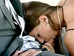 Sexy Claudia Rossi is fucking in limousine with her boss