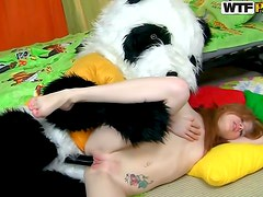 Panda costume on teen fucker
