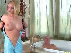 Bathroom blonde for big dick