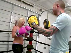 Sporty babe boxing ring fuck