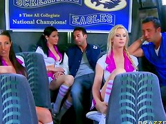 Cheerleader group sex on a bus
