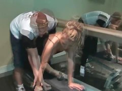 Luscious blonde milf teasing cock at the gym