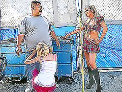 Two salacious girls want to have a fuck with the guy