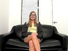 Sweet 19 Year Old With Glasses Gets Fucked On Couch.