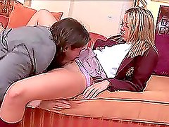 A sexy schoolgirl has an astounding upskirt fuck on the sofa