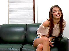 Gorgeous Nympho Toyed and Fucked on a Casting Couch