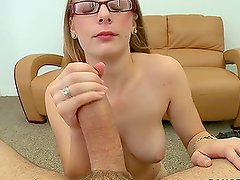 Blonde in Glasses Getting Penetrated by a Big Cock in POV Vid