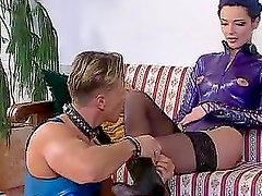 Alexa Weix and Wanda Steel fuck with a man in a dog collar