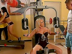 Blonde and Brunette Vixens Double Penetrated in Gym Foursome
