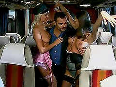 Crazy Shagging Bus With Chicks All Over The Place Taking Dick
